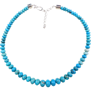 """Long Sterling Silver Graduated Blue Turquoise Bead Necklace ~ 21 1/2"""" - 24"""""""