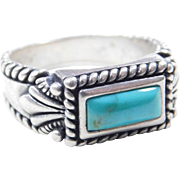 Vintage Sterling Silver Ornate Turquoise Ring