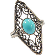 Vintage Sterling Silver Long Turquoise Swirl Ring
