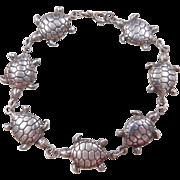 """Vintage Sterling Silver Turtle Bracelet ~ 7 1/4"""""""
