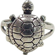 Vintage Sterling Silver Turtle Poison Ring