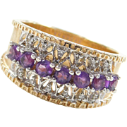 Vintage 14k Gold Two-Tone .76 ctw Amethyst and Diamond Ring