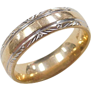 Vintage 14k Gold Two-Tone Wedding Band Ring