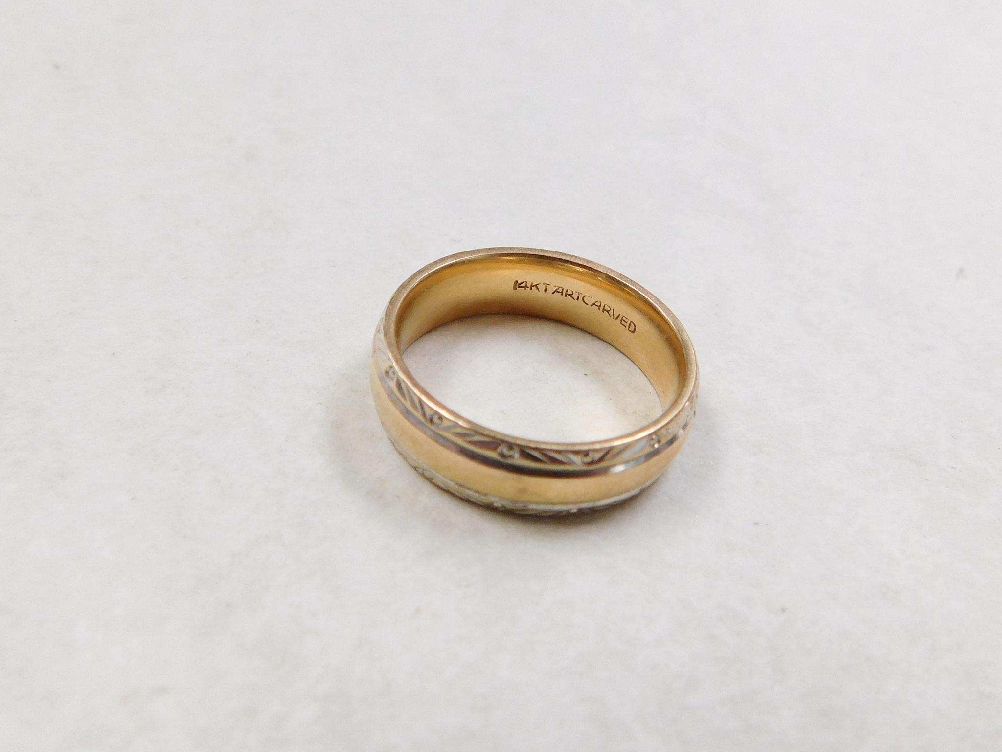 Vintage 14k Gold Two Tone Wedding Band Ring From