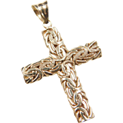 Vintage 14k Gold Two-Tone Byzantine Cross Pendant
