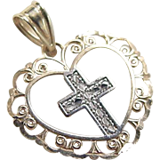 Vintage 14k Gold Two-Tone Cross in Heart Pendant / Charm