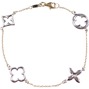 "Vintage 14k Gold Two-Tone Decorative Bracelet ~ 7 1/2"""