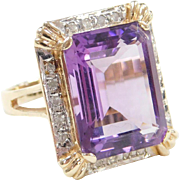 Big 14k Gold Two-Tone 11.58 ctw Amethyst and Diamond Ring