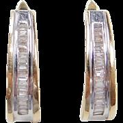 Vintage 14k Gold Two-Tone Diamond Hoop Earrings