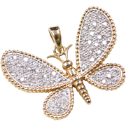 Vintage 14k Gold Two-Tone .25 ctw Diamond Butterfly Pendant