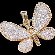 Vintage 14k Gold Two-Tone .25 ctw Diamond Butterfly Pendant