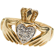 Vintage 10k Gold Two-Tone Diamond Claddagh Ring
