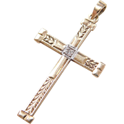 Vintage 14k Gold Two-Tone Diamond Cross Pendant