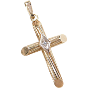 Vintage 10k Gold Two-Tone Diamond Cross Charm / Pendant