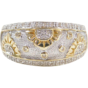 Vintage 14k Gold Two-Tone .21 ctw Diamond Flower Ring