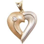 Vintage 14k Gold Two-Tone Diamond Heart Pendant
