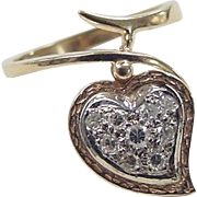 Vintage 14k Gold Two-Tone .18 ctw Diamond Heart Ring