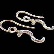 Vintage 14k Gold Two-Tone Diamond Swirl Earrings