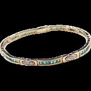 "Vintage 18k Gold Two-Tone 1.78 ctw Natural Emerald and Diamond Bracelet ~ 6 1/2"""