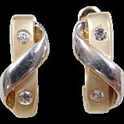Vintage 14k Gold Two-Tone Faux Diamond Hoop Earrings
