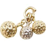 Vintage 14k Gold Two-Tone Golf Balls Charm
