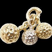 Vintage 14k Gold Two-Tone Golf Balls Charm