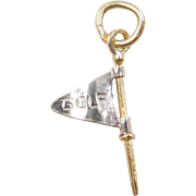 Vintage 18k Gold Two-Tone Golf Flag Charm