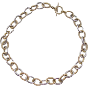 """Sterling Silver Gold Vermeil Link Chain 18"""""""