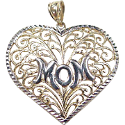 Vintage 10k Gold Two-Tone MOM Heart Pendant