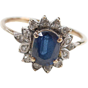 Vintage 10k Gold Two-Tone 1.01 ctw Sapphire and Diamond Ring