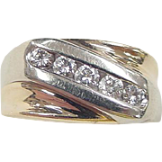 Vintage 14k Gold Two-Tone Gents .45 ctw Diamond Pinkie Ring