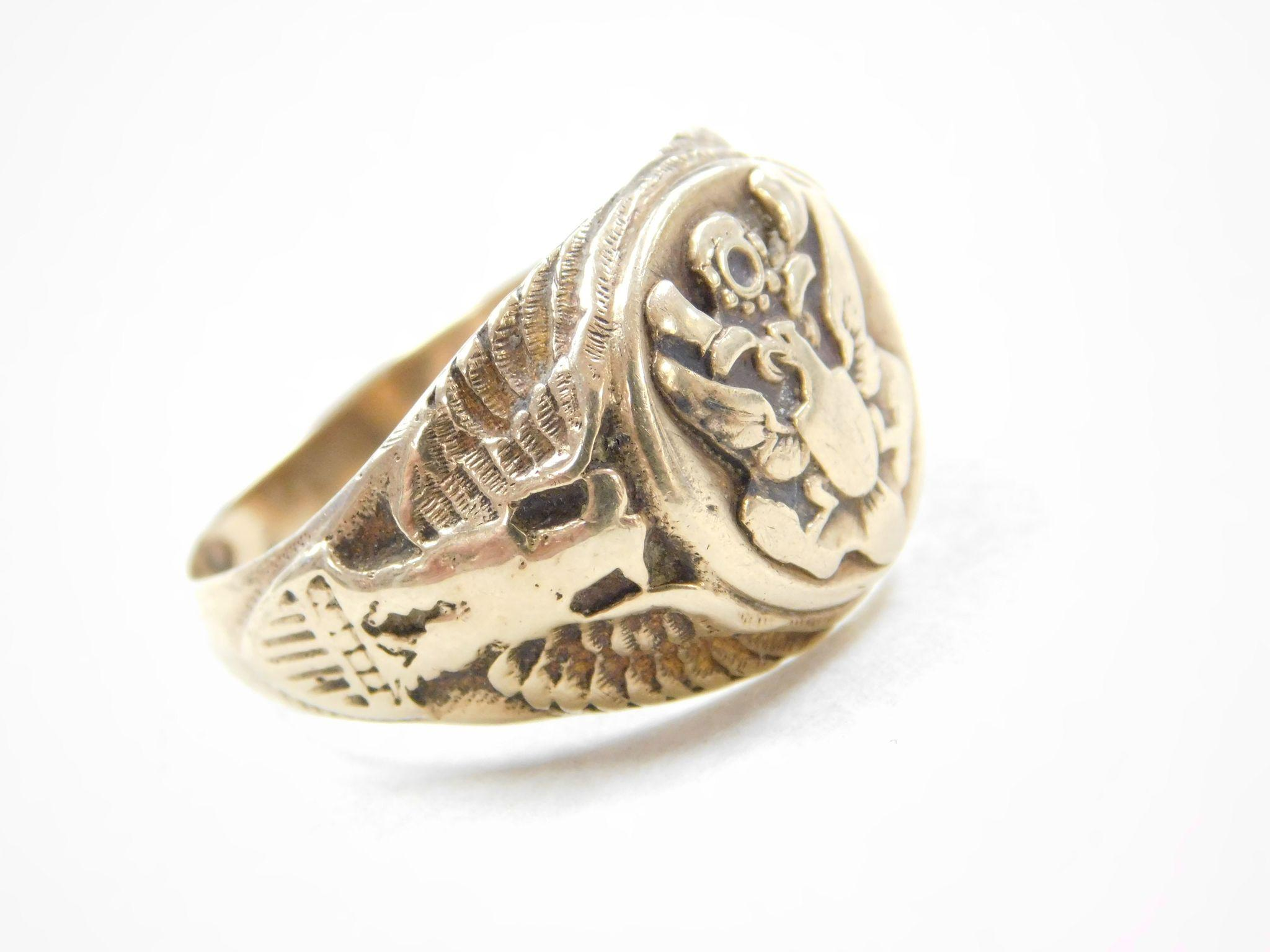 Vintage 10k Gold Us Military Eagle Ring From