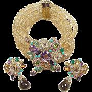 Designer 18k Gold VIBI Leardi Colorful Gemstone Floral Demi-Parure ~ Earrings and Bracelet