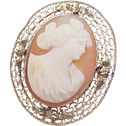 Vintage 10k Gold Cameo Pendant / Pin / Brooch