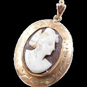 Victorian 10k Gold Cameo Pendant