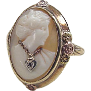 Victorian 14k Gold Two-Tone Cameo Ring ~ Diamond Accent