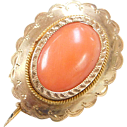 Victorian 10k Gold Coral Pin / Brooch