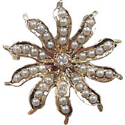 Vintage 14k Gold Seed Pearl and Diamond Pin