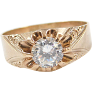 Victorian 9k Gold Gents Faux Diamond Ring