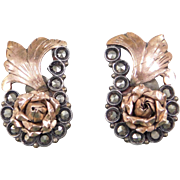 Victorian Silver and Rose Gold Marcasite Flower Earrings