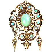 Victorian 14k Gold 4.12 ctw Opal and Enamel Pin / Pendant