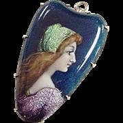 Victorian 14k Gold Painted Portrait Lady Foil Accents ~ Pendant / Pin