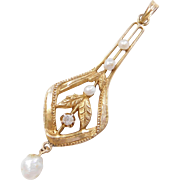 Victorian 10k Gold Seed Pearl and Diamond Lavaliere Pendant