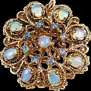 Victorian Revival 14k Gold Opal Pin / Brooch / Pendant