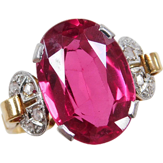 Stunning Victorian 18k Gold Ruby and Diamond Ring