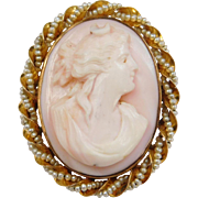 Victorian 10k Carved Shell Cameo With Seed Pearl Twisted Border ~ Pin / Brooch / Folding Bail for Pendant