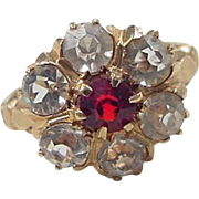 Victorian Revival 10k Gold Faux Garnet and Faux Diamond Ring