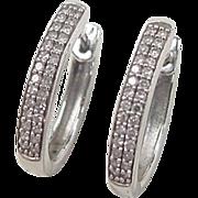 Vintage 14k White Gold Diamond Huggie Hoop Earrings