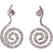 Vintage 14k White Gold Diamond Swirl Earrings