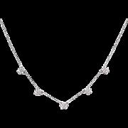 """Vintage 14k White Gold 1.05 ctw Faux Diamond Flower Necklace ~ 18"""""""